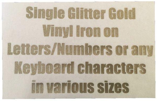 Glitter Gold vinyl iron on lettering - JJ's Printing Services